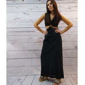 70s lurex glitter maxi dress with cutout's
